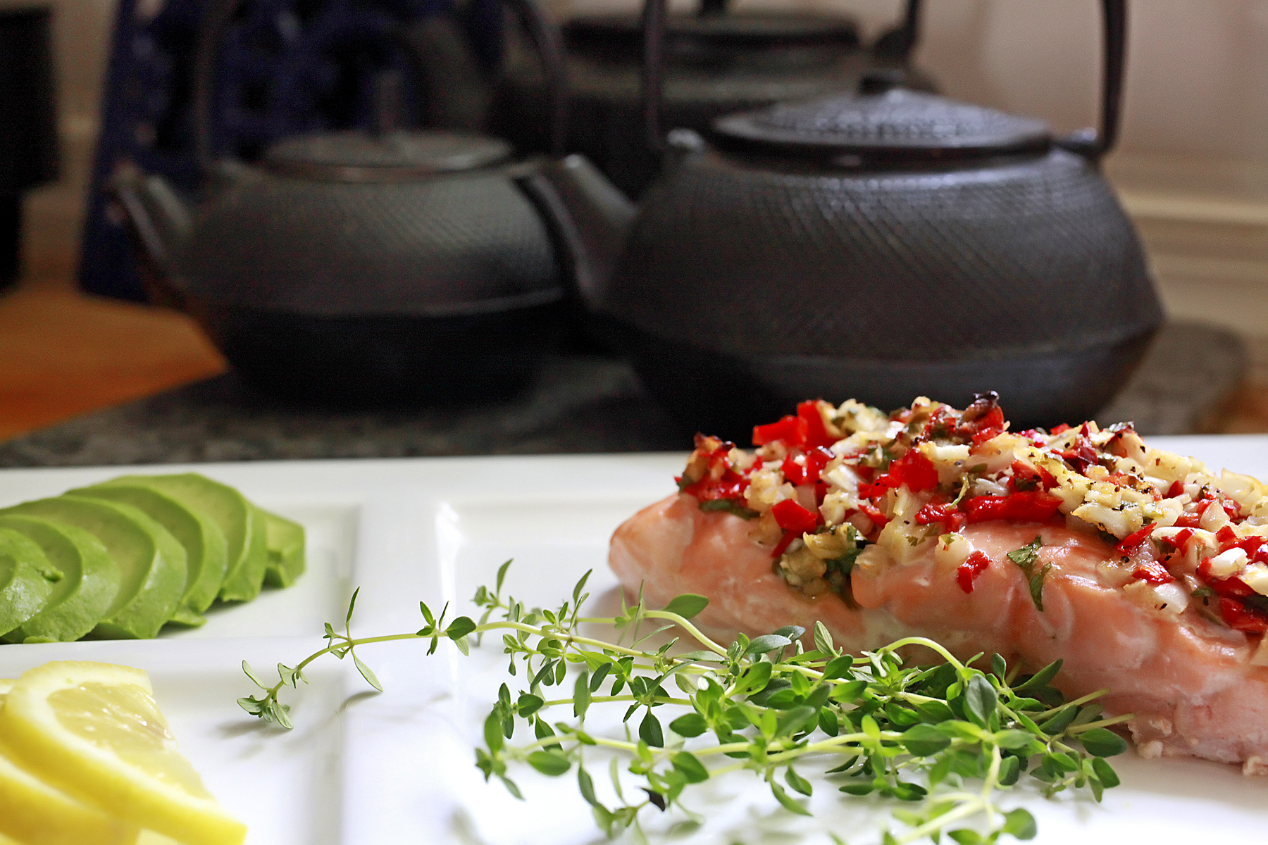 Grilled Salmon with Chili Peppers